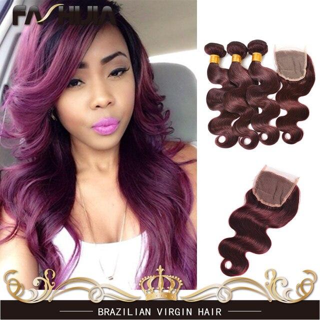 Burgundy Brazilian Hair Weave Grade 7A Brazillian Virgin Hair Body Wave 3 Bundles Red 99J Human Hair Extensions With 4x4 Closure