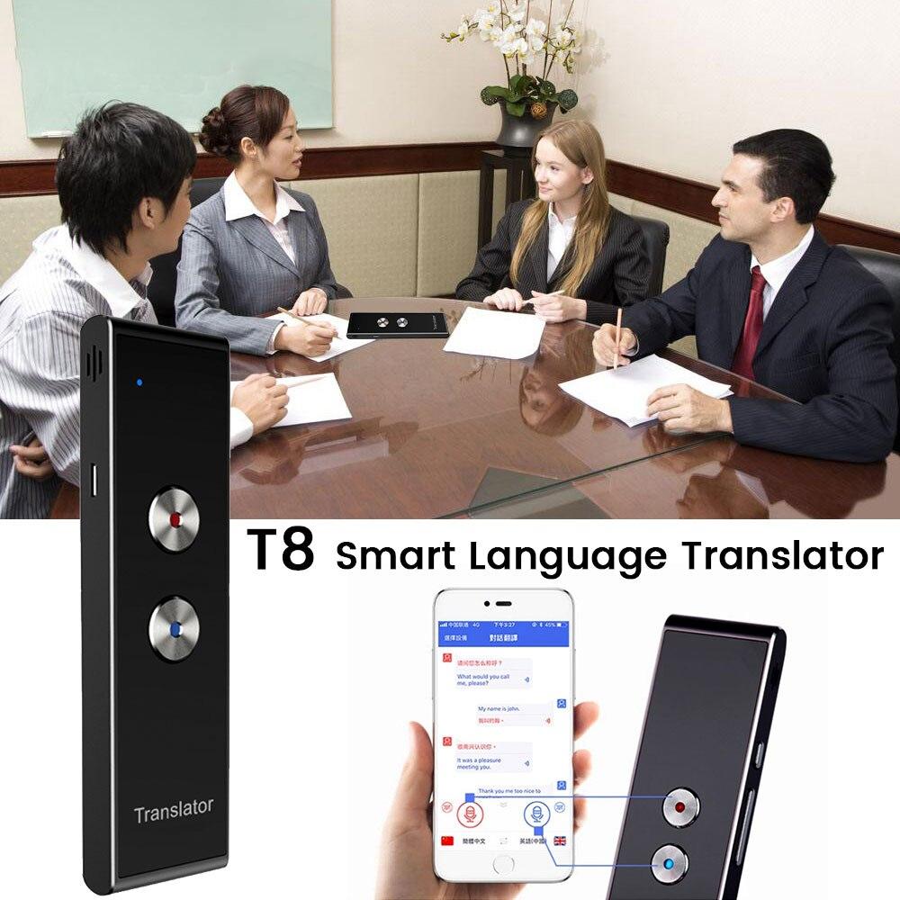 المحمولة T8 الذكية صوت الكلام المترجم اتجاهين الوقت الحقيقي 30 متعددة اللغات الترجمة للتعلم السفر الأعمال تلبيةمترجم   -