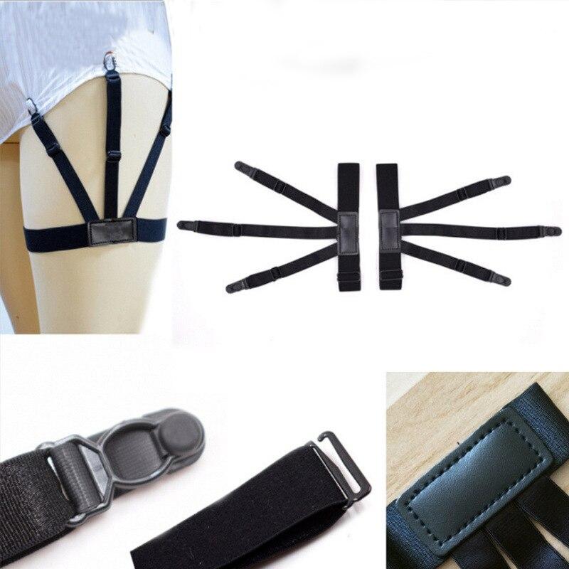 Black Punk Mens Leg Thigh  Gentleman Elastic Garter Belt Suspender Shirt Slip Proof Clip