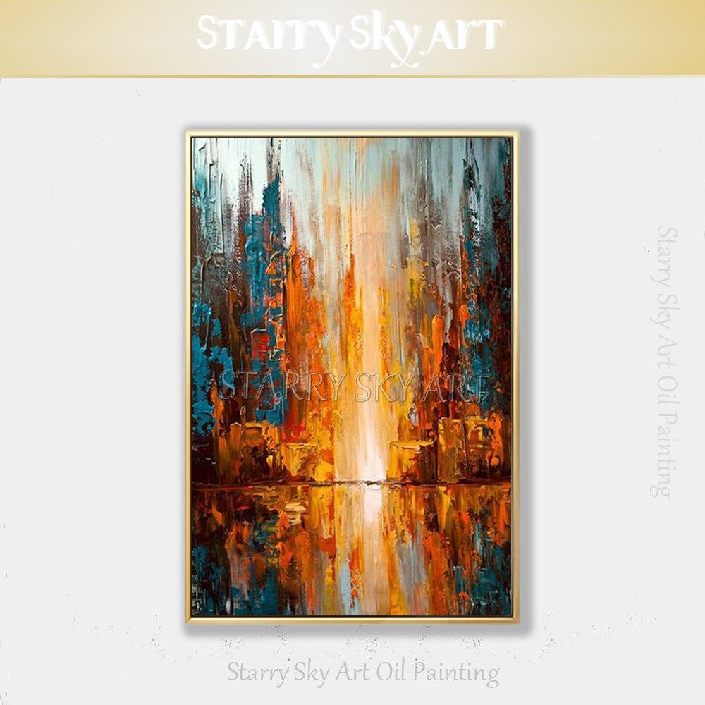 Artiste peinture acrylique abstraite de haute qualité faite à la main sur toile couleurs Orange abstraite grande toile peinture à l'huile contemporaine