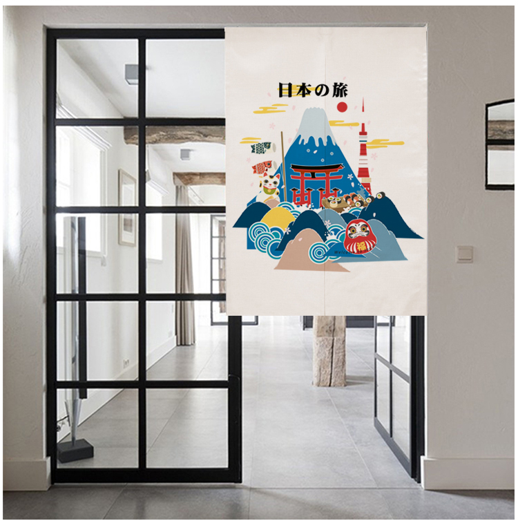 Japan style cotton Japanese travling door window curtain home decoration hanging living room kitchen cafe bar coffee house