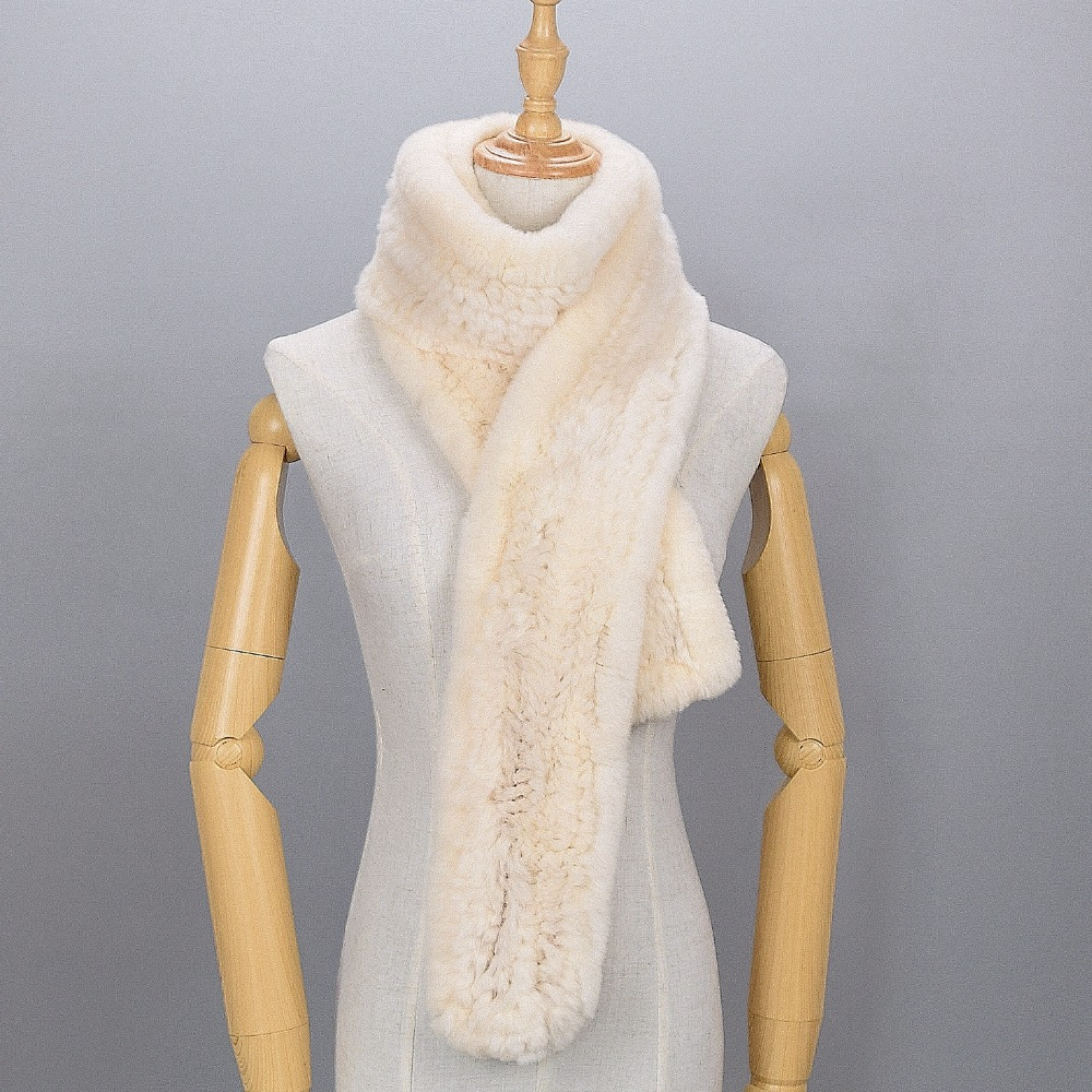 Women Real Fur Scar Knitted Rex Rabbit Fur Fashion Luxury Brand New Shawl Scarvf Solid Color