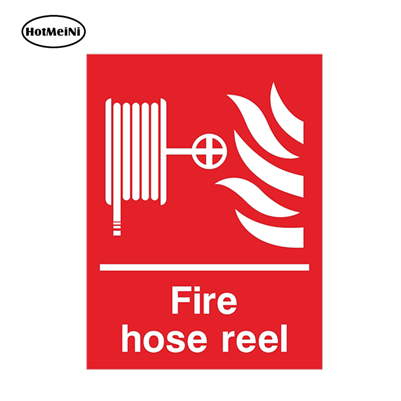 HotMeiNi Car Styling FIRE HOSE REEL Car Sticker for Fire Safety Box Door Room Caution Danger Waterproof Accessories 13cmx9.75cm