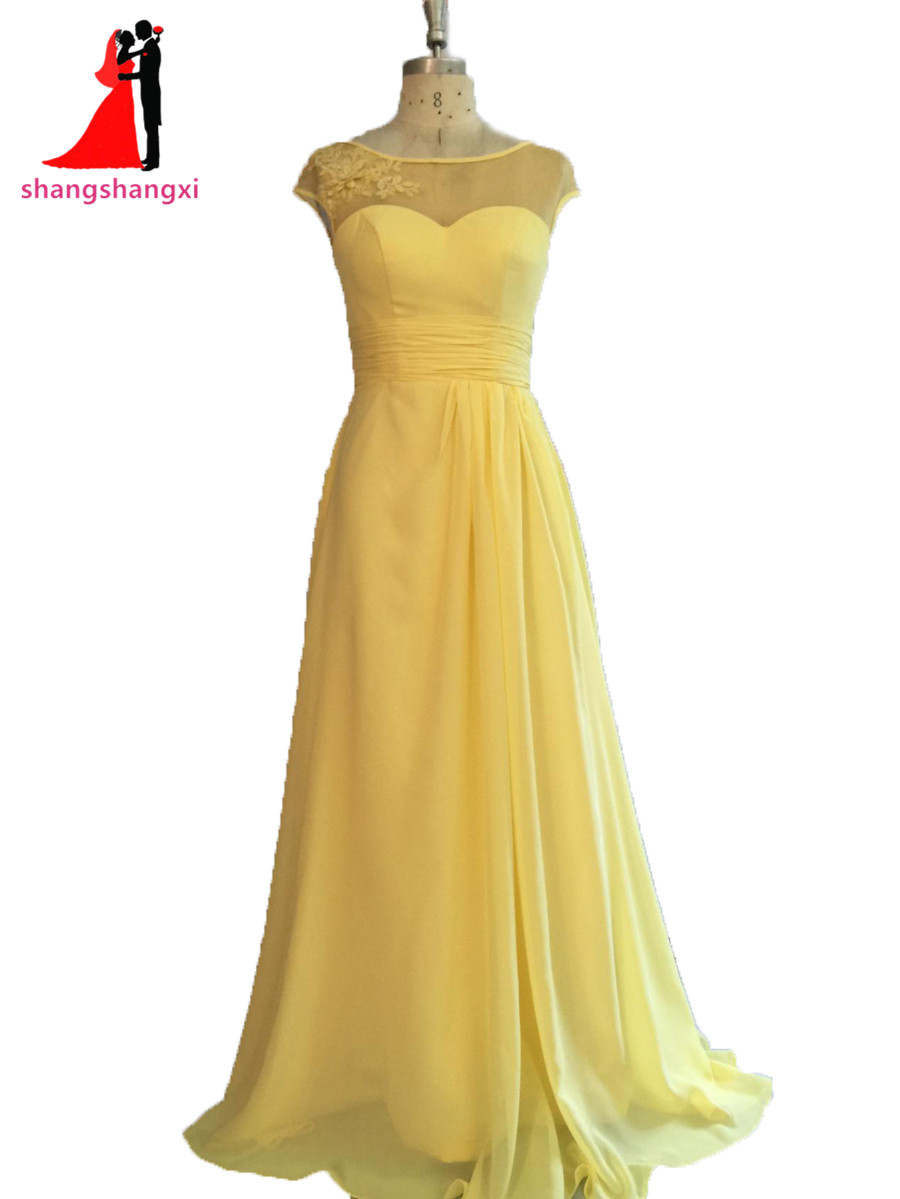 Plus size long bridesmaid dresses 2017 yellow chiffon for Wedding party dresses 2017