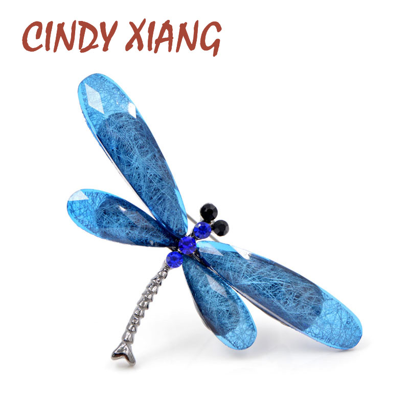 Cindy xiang colorful resin dragonfly brooches for women vintage elegant insect brooch pins new year gift winter coat jewelry