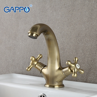 Retro Style Brass Solid Basin Faucet Bronze Plating Double Handle Cold And Hot Water Mixer G1063