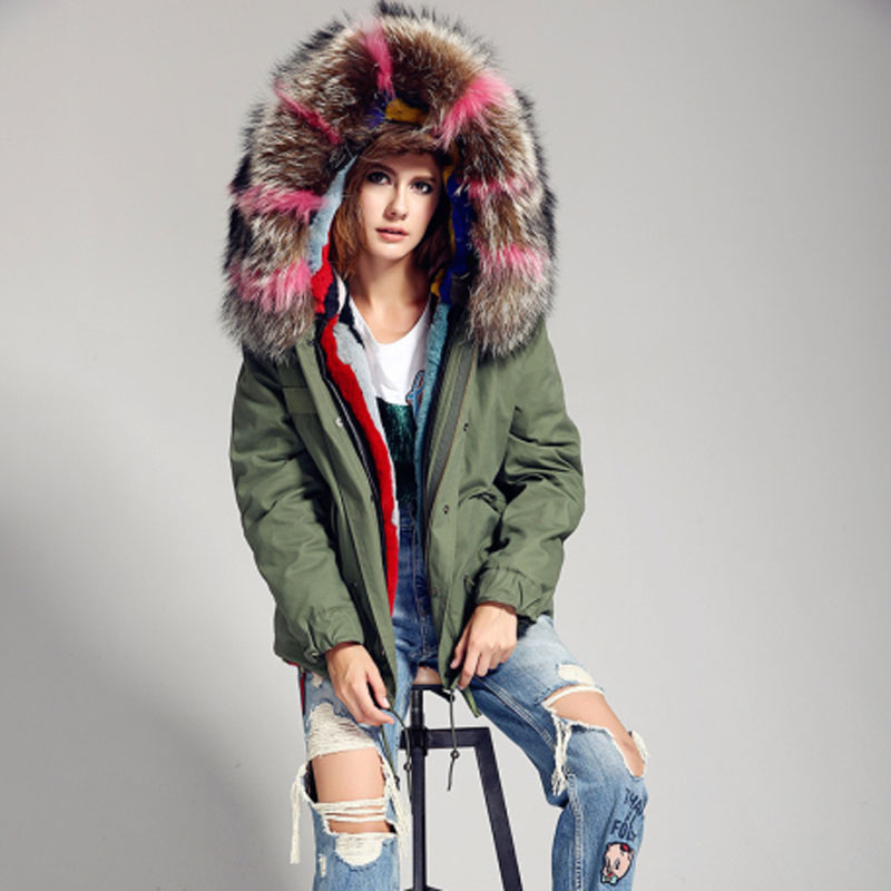 New Fashion Woman Colorful Big Real Raccoon Fur Collar Hooded Coat Parkas Outwear Detachable Rabbit Fur liner Warm Winter Jacket faux rabbit fur brown mr short jacket sleeveless with big raccoon collar fall coat