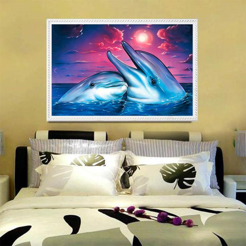 Crafts Diamond Embroidery Two Dolphins 5D DIY