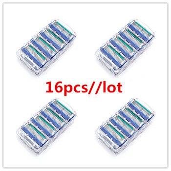 16 unids/lote de afeitado profesional de 5 capas de hojas de afeitar Compatible con gilletet fusone para el cuidado de la cara de los hombres o Mache 3