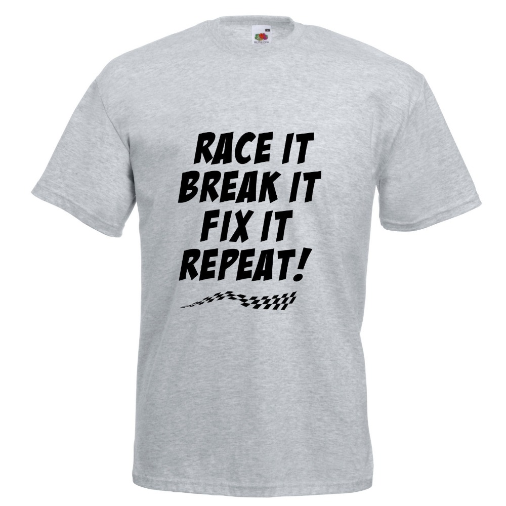 Free shipping 2018 Race It Break It Fix It Repeat Car Racinger Printed T-Shirt Adult Children Sizes O-Neck Short-Sleeve T Shirts