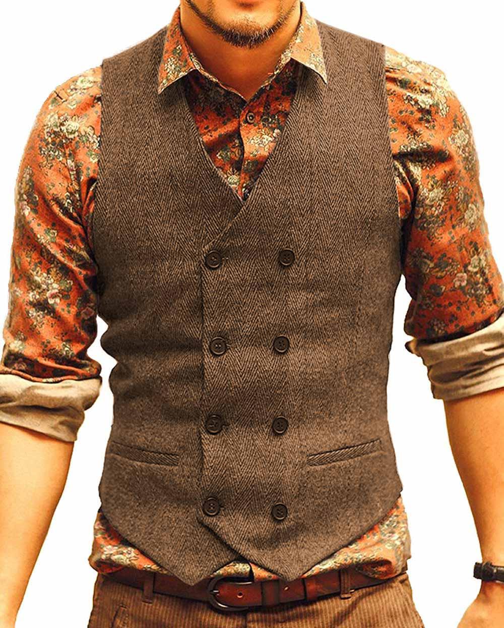 Mens Suit Vest V Neck Wool Herringbone Casual Formal Business Double-breasted Waistcoat Groomman For Wedding Green/Black/Brown