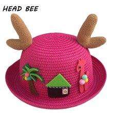 [Глава пчелы] 2018 модные Защита от солнца Hat Kid мультфильм уха летняя шапка для девочки и мальчика прекрасный пляж Кепки дети завод соломенная шляпа