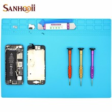 SANHOOII 35*25cm Heat-resistant Silicone Pad BGA Solder Station Repair Heat Insulation Desk Maintenance platform Mat Tool