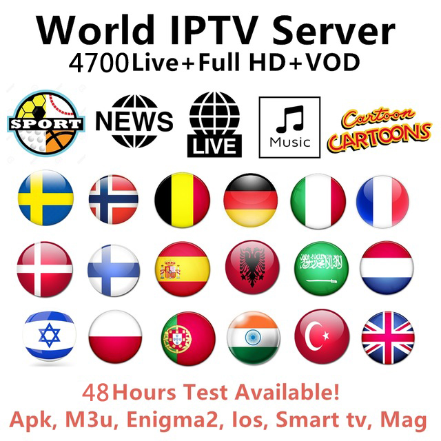 IPTV Subscription 4700 Channels 3700 VOD Arabic Europe USA Canadian African  French India Latino Stream Live Android m3u
