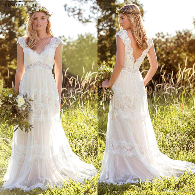 Boho Lace Country Wedding Dresses 2018 Abiti Da Sposa A Line Handmade Bridal Gowns Free
