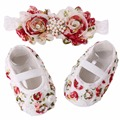 Flower Baby Girl Shoe Toddler Headband,Infant Christening Baby Moccasins,Newborn Baby Girl Baptism Flower Hedband Set