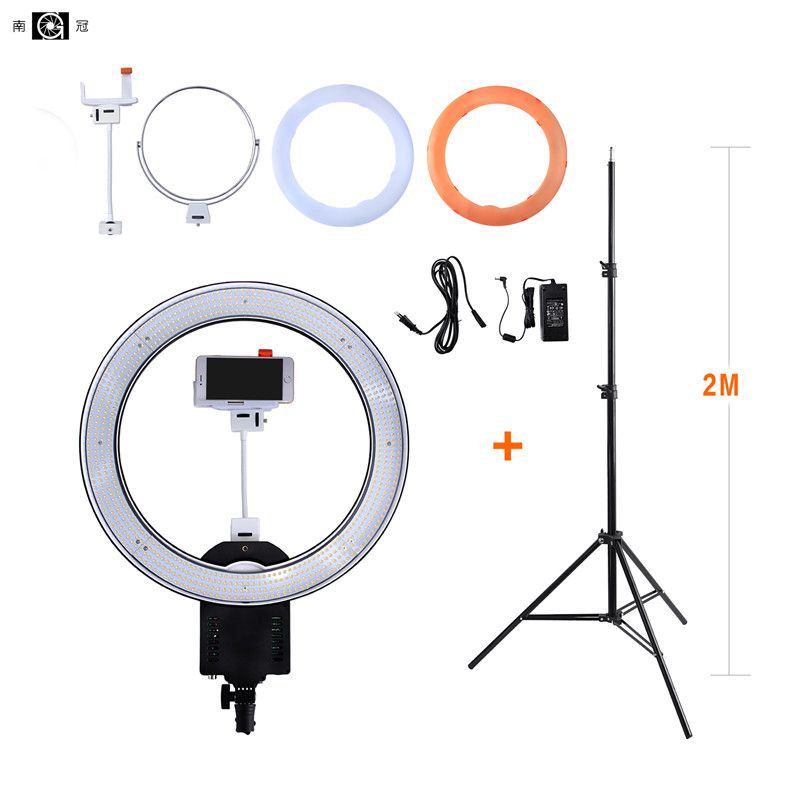 Nanguang CN R640 Photography Camera Photo Video 640 LED Macro 5600K Dimmable Ring Light With 2M