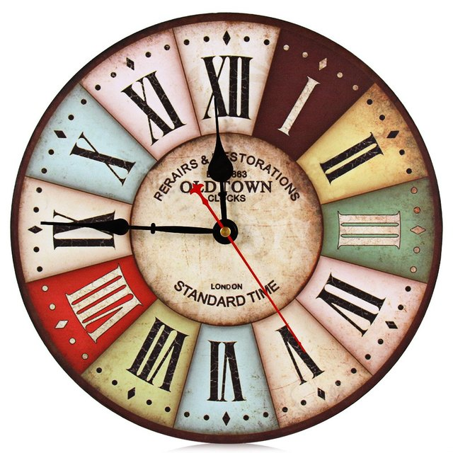 Clic 12in Large Wood Wall Clock Vintage Retro Style With Roman Number Metal Frame For Home Decor Lobby Living Room