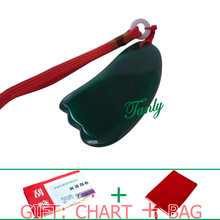 Traditional Acupuncture Massage SPA Tool Guasha Board Natural Green Agate Stone triangle shape traditional acupuncture massage spa tool guasha board natural green agate stone fat u shape