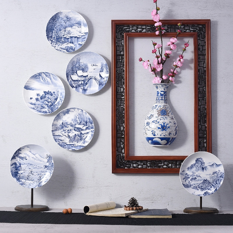 Creative Hand Painted Blue And White Porcelain Plate Decoration Hang Wall Dish Flower Vases