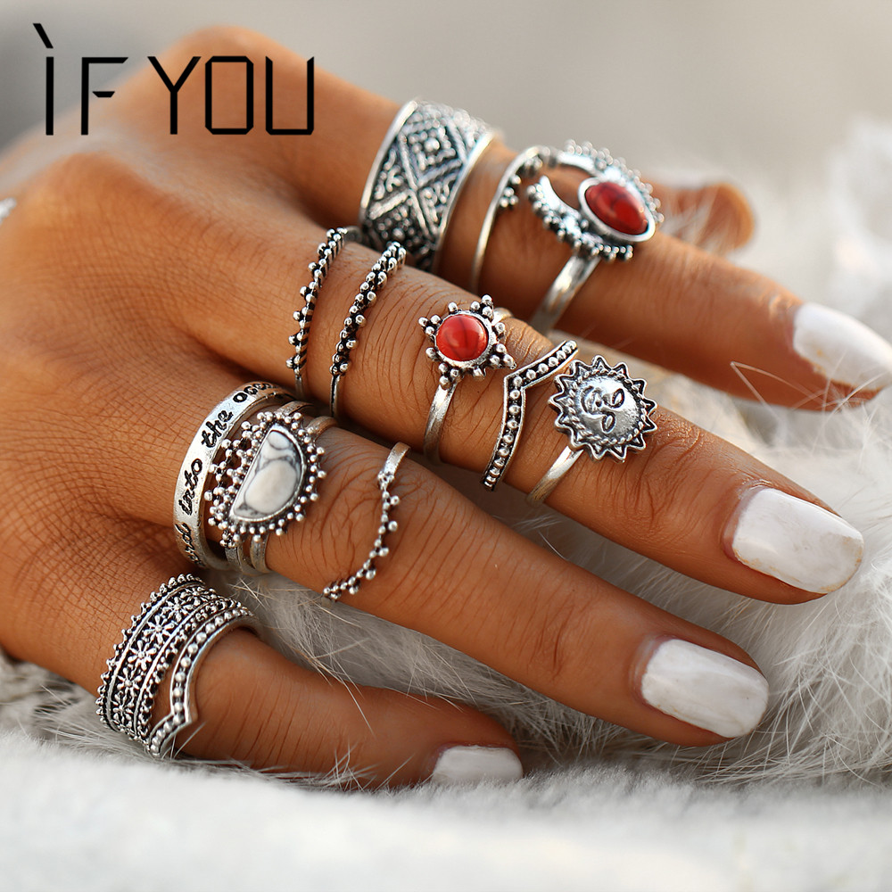 IF YOU 14PCs / Set Vintage Tibet Lucky Red Antique Artificial Stone Moon Knuckle Midi Ring Set para mujeres Punk Boho Rings Gifts