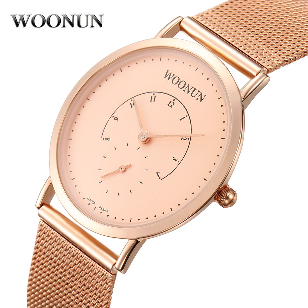WOONUN Rose Gold Mens Watches Top Brand Luxury Full Steel Mesh Band Quartz Watches Super Thin Men Watches Relogio Masculino woonun top famous brand luxury gold watch men waterproof shockproof full steel diamond quartz watches for men relogio masculino