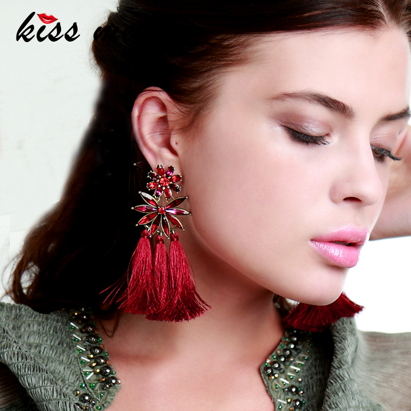 KISS ME Bohemian Earrings Charming Red Cotton Thread Tassel Crystal Flower Big Drop Earrings Women Accessories