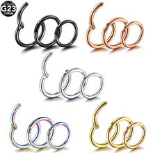 1PC 100% G23 Titanium Hinged Segment Nose Ring 14G 16G 18G Nipple Clicker Ear Cartilage Tragus Helix Lip Piercing Sexy  Jewelry