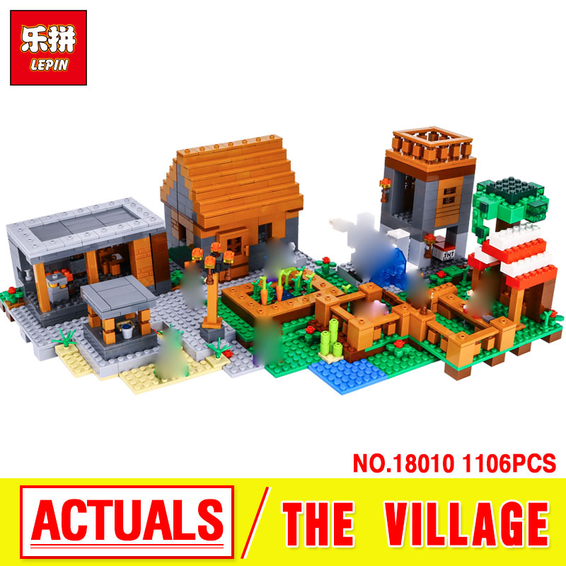 Lepin 18010 New 1106pcs The Village marketplace adventures Steve  Blocks kids Toys Compatible with 21128 Lovely Gifts Toys