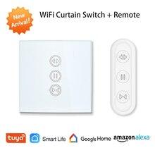 Tuya Smart Leven EU WiFi Rolluik Gordijn Schakelaar voor Elektrische Gemotoriseerde Jaloezieën met Afstandsbediening draadloze schakelaar Google Thuis alexa Echo Voice Control Muur Touch Switch Smart Home