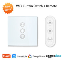 Tuya Kehidupan Cerdas Uni Eropa Wifi Roller Shutter Tirai Switch untuk Listrik Bermotor Tirai dengan Remote Kontrol Nirkabel Switch Google Home alexa Echo Kontrol Suara Dinding Saklar Sentuh Smart Home(China)