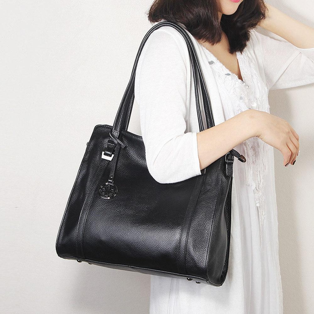Real Cow Leather Soft Skin Women Shoulder Bag Black Hobos Female Crossbody Messenger Purse Tote