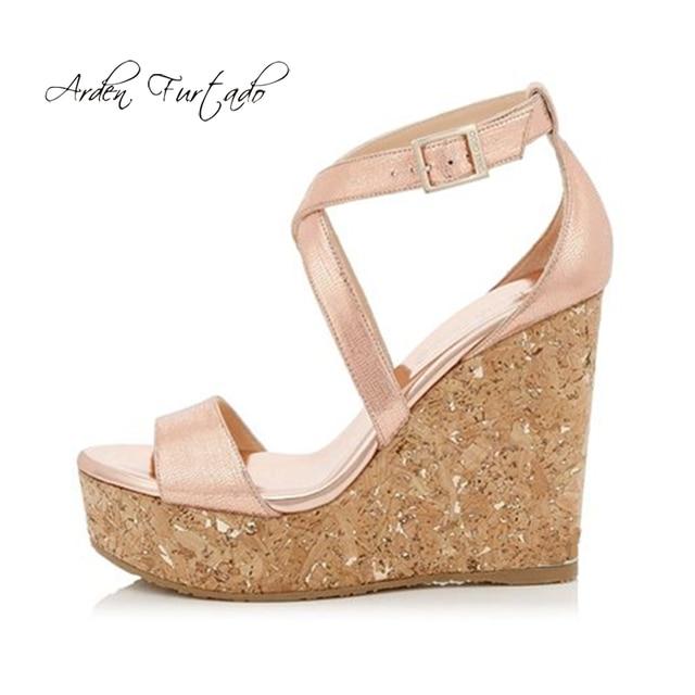 572c345f5791 Arden Furtado 2018 summer platform fashion sandals shoes woman cork wedges high  heels 14cm ankle strap cover heel shoes ladies