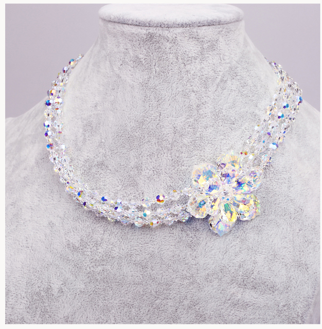 Superior Luxury Austrian Crystal Square White Color Crystal Necklace in Sterling Silver Jewelry For Women Wedding Accessories