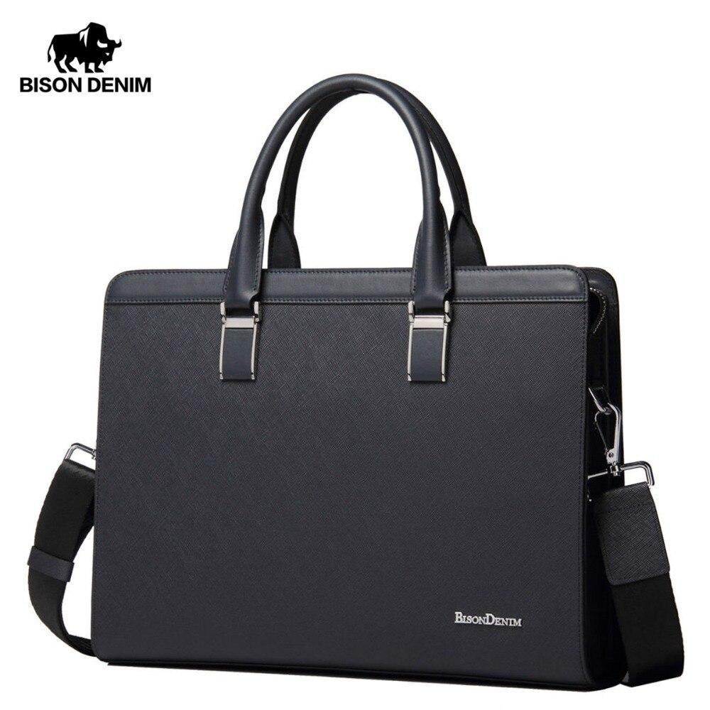 BISON DENIM Genuine Leather Handbag Men Business Messenger Bag 14 Laptop Tablet leather Shoulder Bag Crossbody