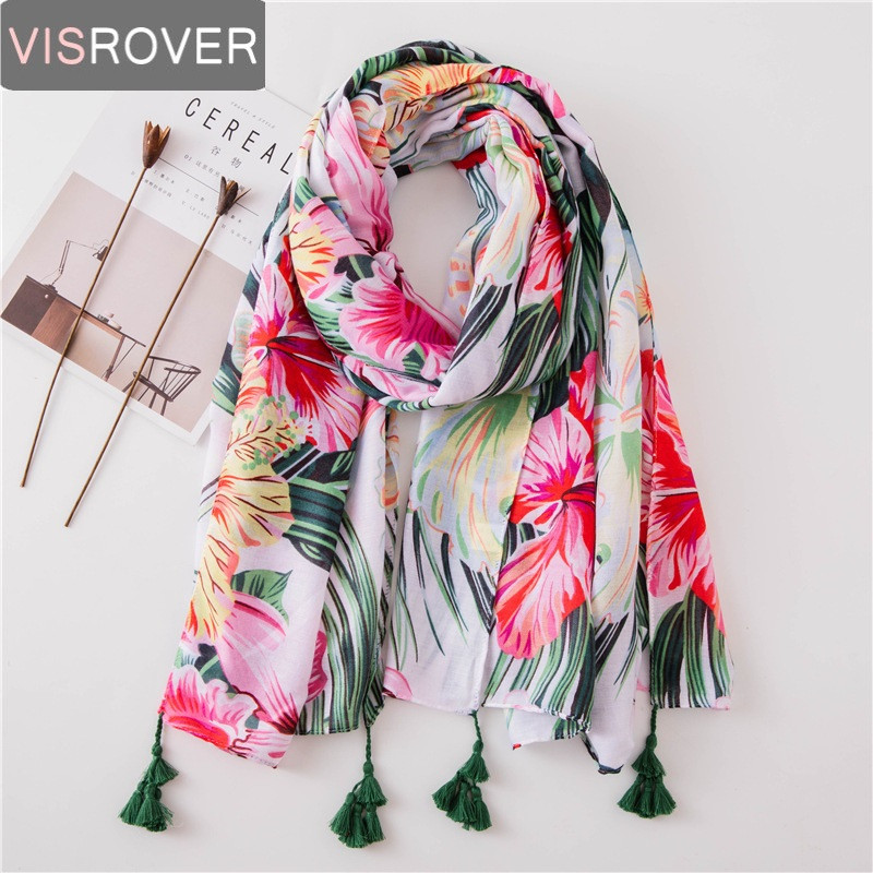 VISROVER Flower Beach Winter Scarf  Tropical Print Scarf Shawl Leaves Printing Coconut Tree Silk Scarves Summer Women Viscose