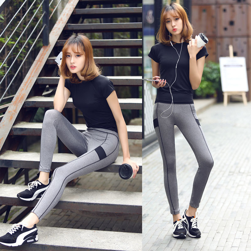 Women's running short-sleeved two-piece slim slimming trousers fitness clothes yoga clothing suit
