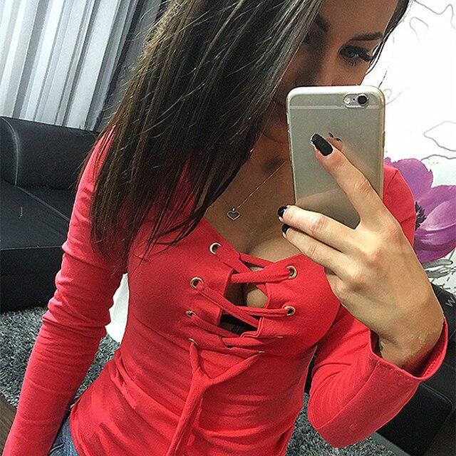 Mulheres primavera Outono T Shirt Full Sleeve Oco Out Spaghetti Strap Top Colheita Camiseta Femme Blusas Slim Fit Sólida Túnica 2017