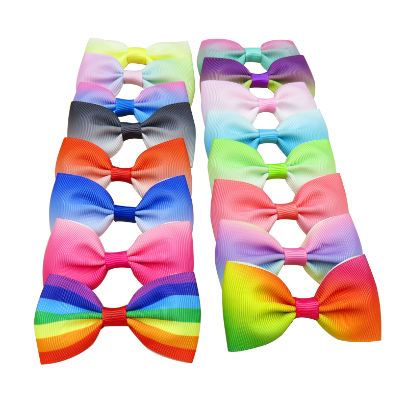 1PCS Rainbow Gradient Colorful Elastic Hair Bands Girls Ribbon Bows Girls Hair Circle Tie Rope Hair Accessories Best Gifts