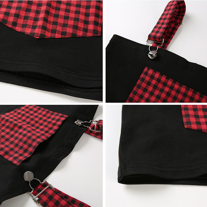 a304b30c61 Black Red Plaid Cami Tube Top with Big Pockets Streetwear Patchwork Summer  Crop Tops for Women 2018 Bandage Nightclub T Shirts-in Camis from Women s  ...