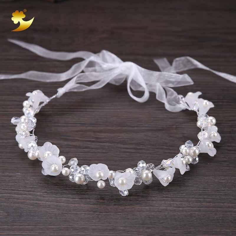XinYun Hair Accessories For Girls Kids Flower Crown Adjustable Flower Headband Pearls Head Wreath Korean Hair Accessory   Headwear