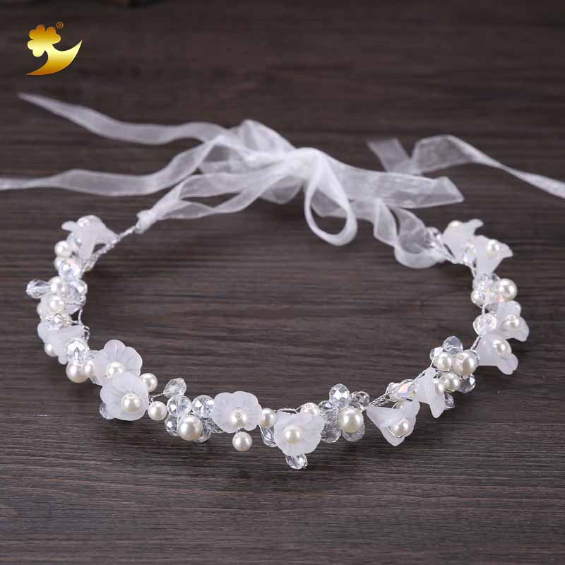 XinYun Hair Accessories For Girls Kids Flower Crown Adjustable Flower Headband Pearls Head Wreath Korean Hair Accessory Headwear
