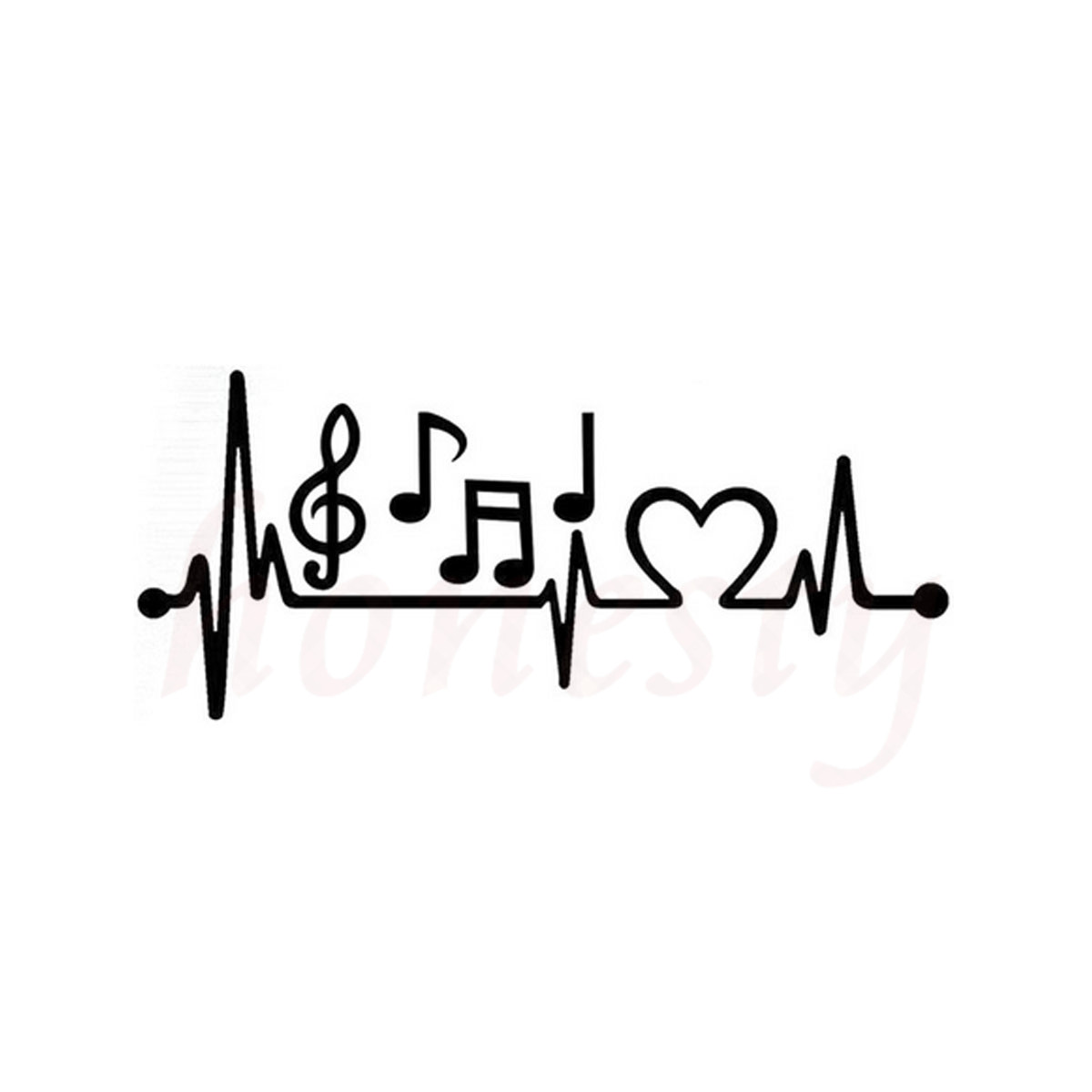 Music Notes Heartbeat Car Sticker for Wall Home Glass