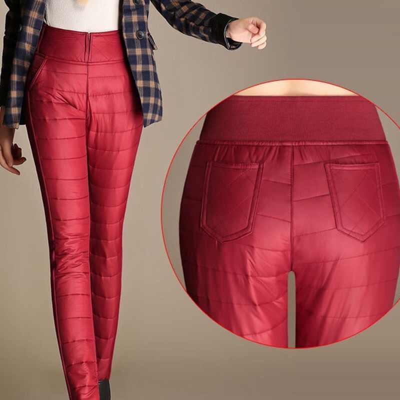 נשים מכנסיים החורף גבוהה מותן משובץ למטה מכנסיים נשים עבה חם מבודד שלג אלסטי slim נמתח הלבשה עליונה