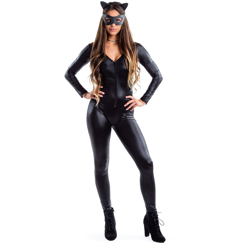 S-XL New Adult Black Catwoman Catsuit Sexy Faux Leather Clubwear Wet Look Front Zipper Bandage Jumpsuit Halloween Costume