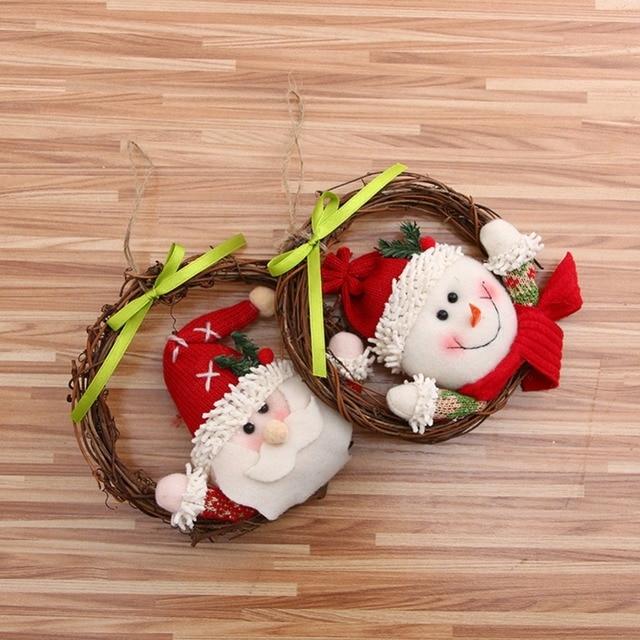 hanging festive party supplies pendants christmas decorations dolls wreath small rattan wraps christmas door