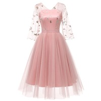 Women Floral Embroidery Lace Tulle Illusion Dress Pink Elegant Vintage Dress Sheer 3/4 Sleeves Formal Party Dress
