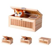 Wooden Useless Electronic Box Cute Tiger Funny Toy Upgrade Wooden Electronic Useless Box with Sound Wooden toys for children