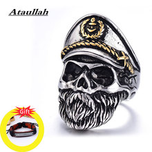 Ataullah Gothic Captain Skull Ring Male Punk Rock Finger Antique Vintage Personality Jewelry for Man Party Gift RW044