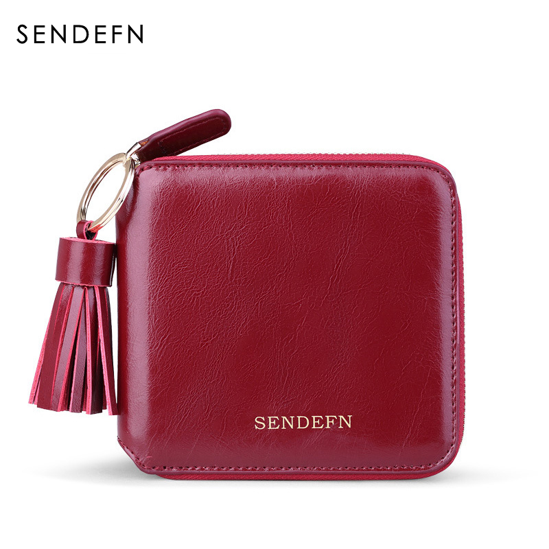 Sendefn Spilt Leather Lady Mini Wallet Women Short Purse Grils Purses Female Wallets Zipper Pocket For /Coin/Card Holder sendefn fashion vintage women wallets short design split leather trifold purse wallet with zipper coin pocket
